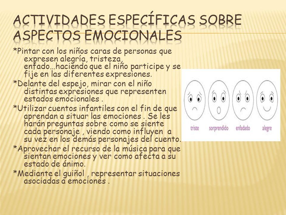 ACTIVIDADES ESPECÍFICAS SOBRE ASPECTOS EMOCIONALES