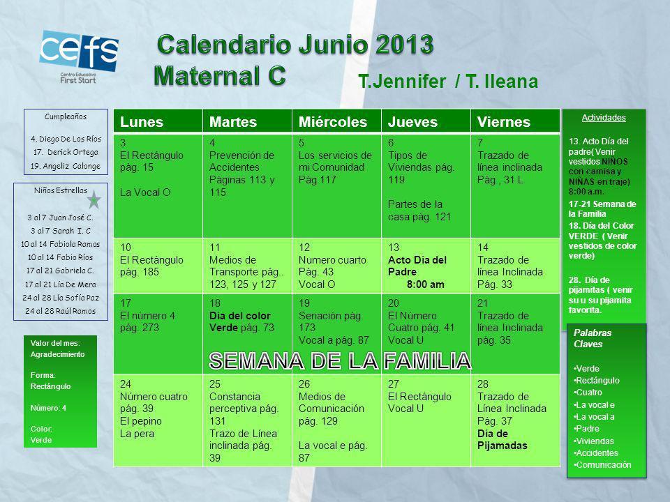 Calendario Junio 2013 Maternal C SEMANA DE LA FAMILIA