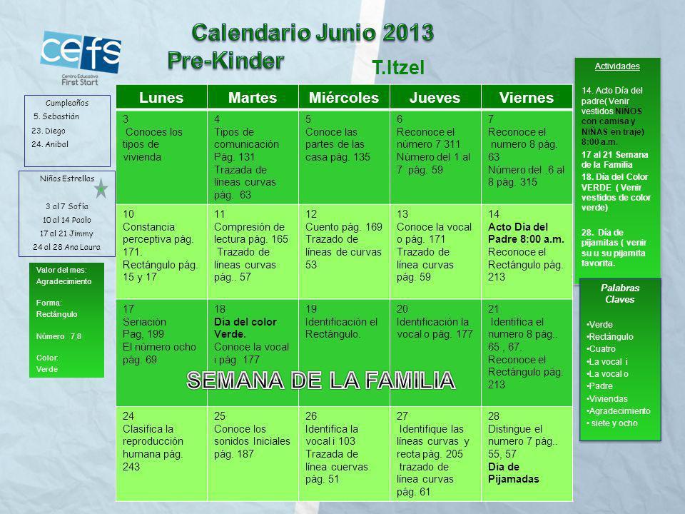 Calendario Junio 2013 SEMANA DE LA FAMILIA