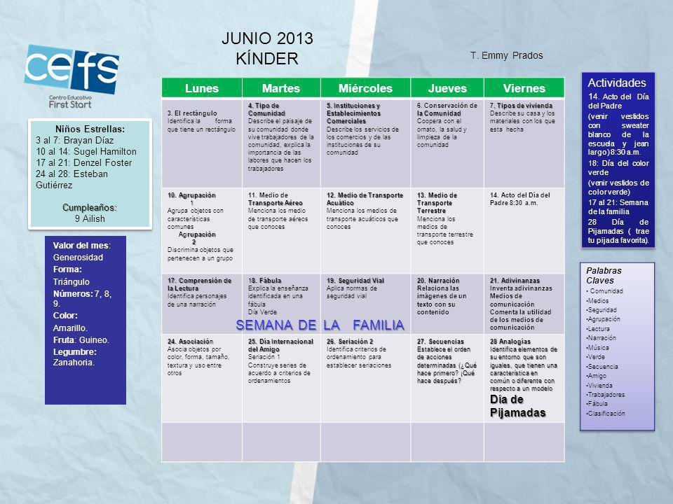 JUNIO 2013 KÍNDER SEMANA DE LA FAMILIA Lunes Martes Miércoles Jueves