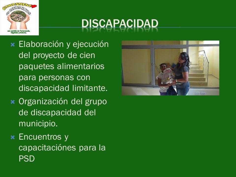 DISCAPACIDAD Elaboración y ejecución del proyecto de cien paquetes alimentarios para personas con discapacidad limitante.