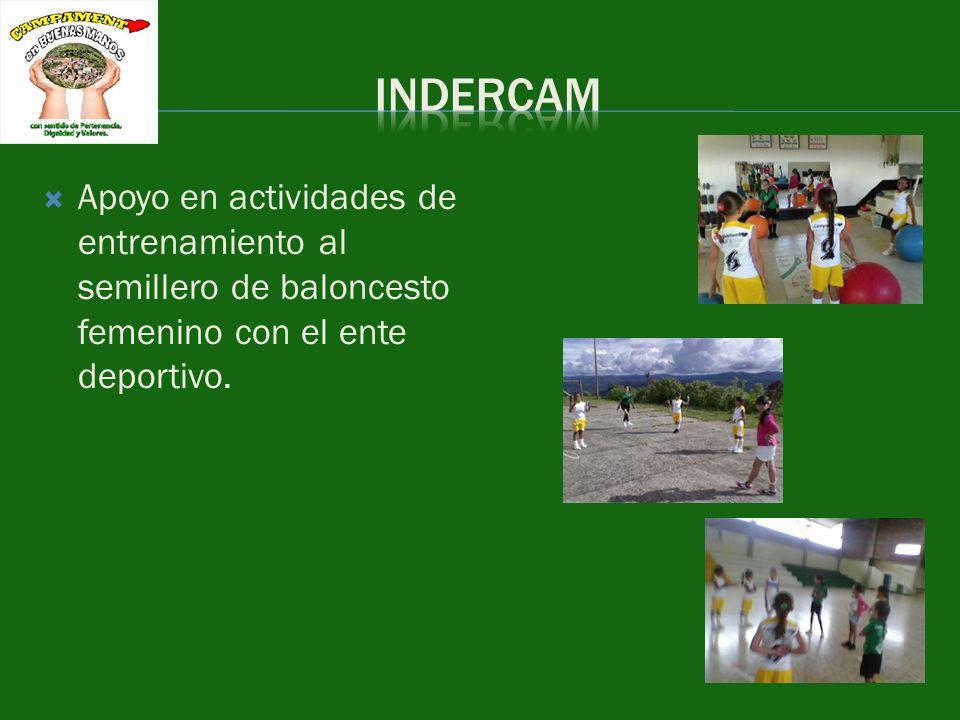 INDERCAM Apoyo en actividades de entrenamiento al semillero de baloncesto femenino con el ente deportivo.