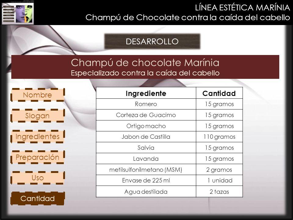 Champú de chocolate Marínia