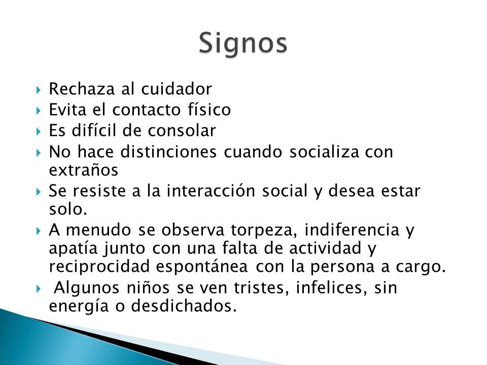 Signos Rechaza al cuidador Evita el contacto físico
