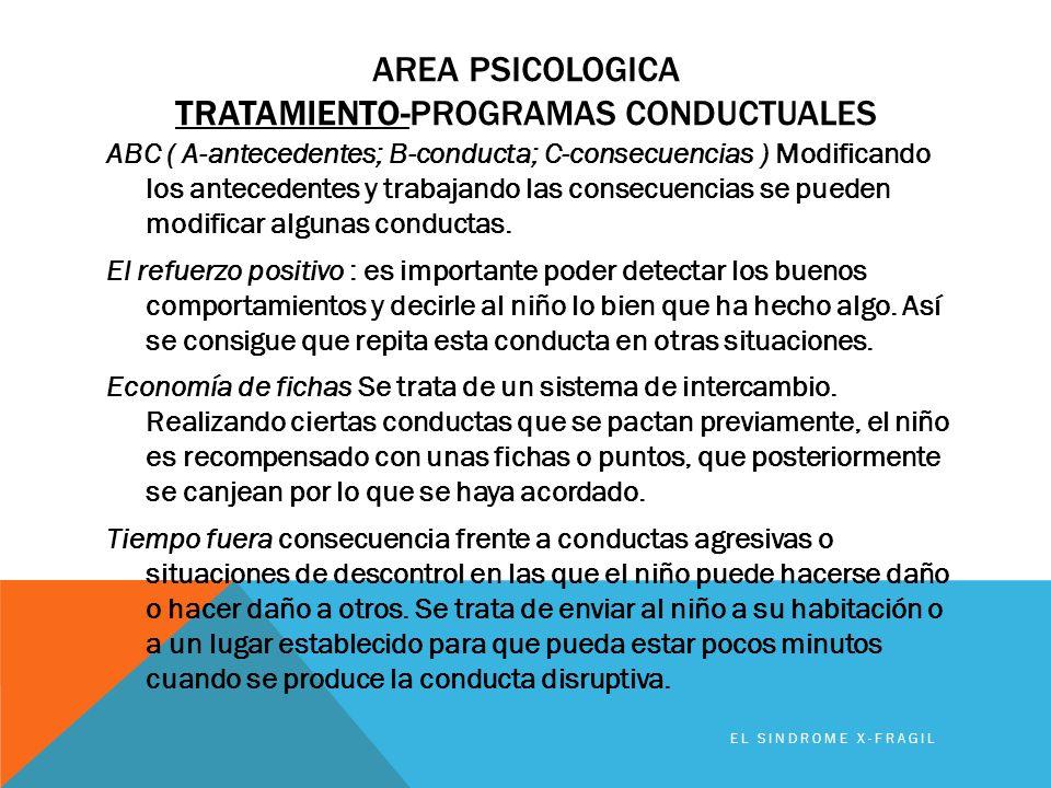 Area PSICOLOGICA TRATAMIENTO-programas conductuales