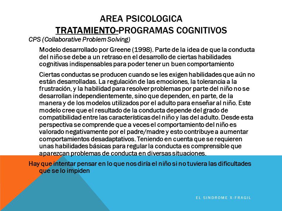 Area PSICOLOGICA TRATAMIENTO-programas coGNITIVOS
