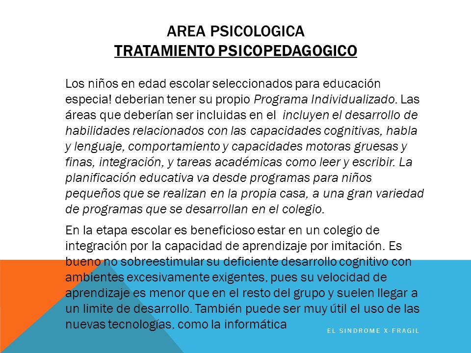 Area PSICOLOGICA TRATAMIENTO psicopedagogico