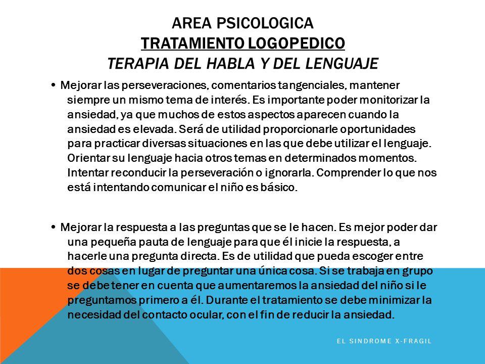 Area PSICOLOGICA TRATAMIENTO LOGOPEDICO Terapia del habla y del lenguaje