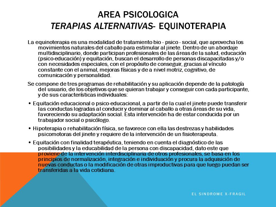 Area PSICOLOGICA TerapiaS ALTERNATIVAS- Equinoterapia