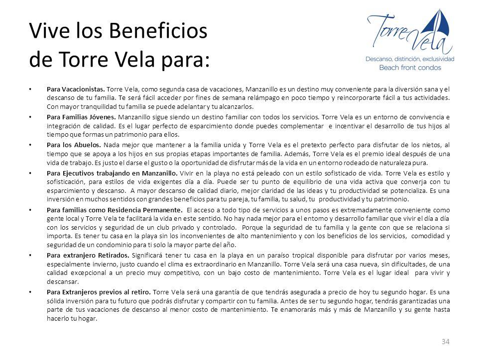 Vive los Beneficios de Torre Vela para: