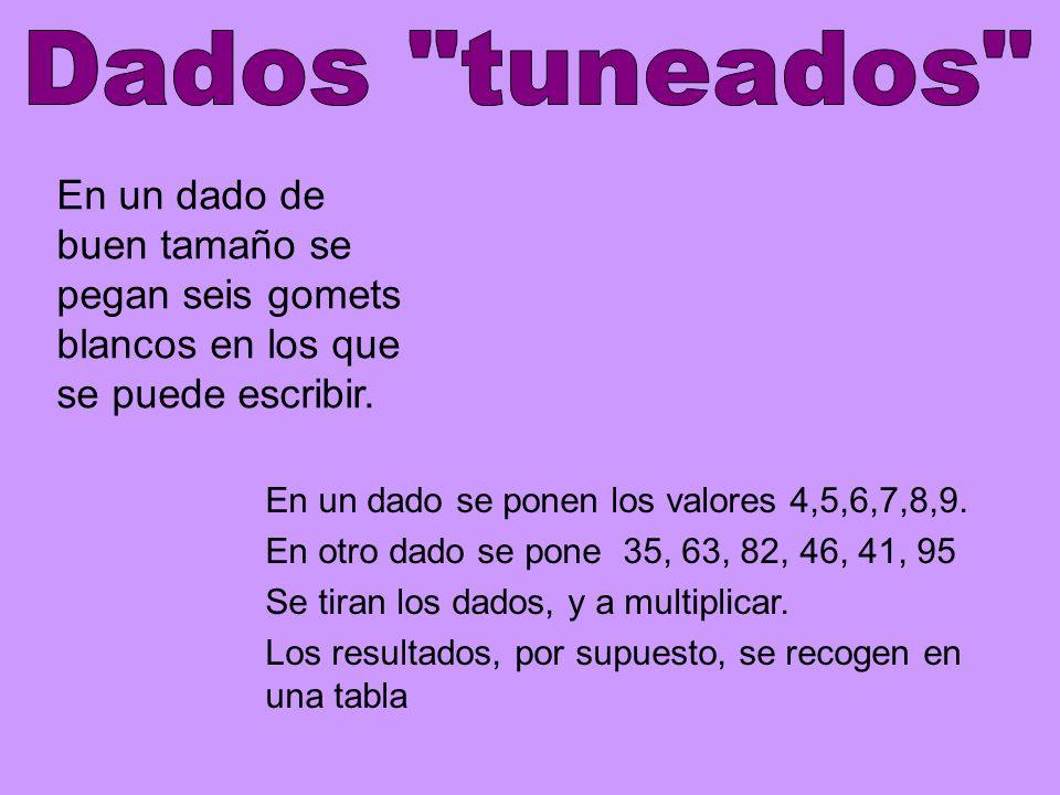 Dados tuneados En un dado de buen tamaño se pegan seis gomets blancos en los que se puede escribir.