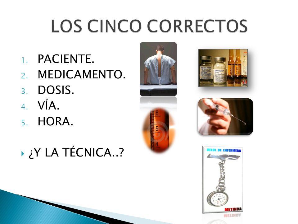LOS CINCO CORRECTOS PACIENTE. MEDICAMENTO. DOSIS. VÍA. HORA.