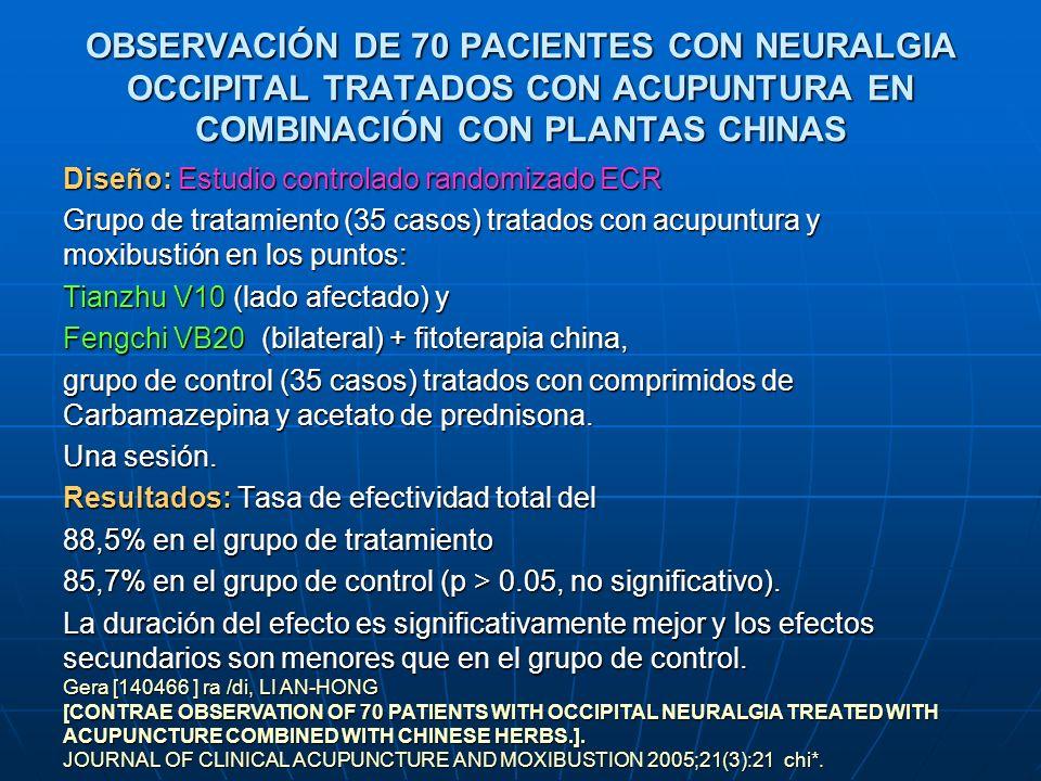 OBSERVACIÓN DE 70 PACIENTES CON NEURALGIA OCCIPITAL TRATADOS CON ACUPUNTURA EN COMBINACIÓN CON PLANTAS CHINAS