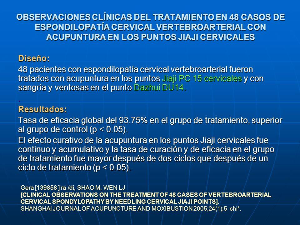 OBSERVACIONES CLÍNICAS DEL TRATAMIENTO EN 48 CASOS DE ESPONDILOPATÍA CERVICAL VERTEBROARTERIAL CON ACUPUNTURA EN LOS PUNTOS JIAJI CERVICALES