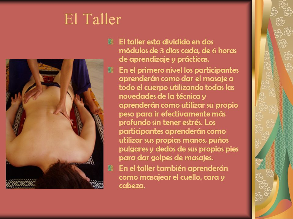 El Taller El taller esta dividido en dos módulos de 3 días cada, de 6 horas de aprendizaje y prácticas.