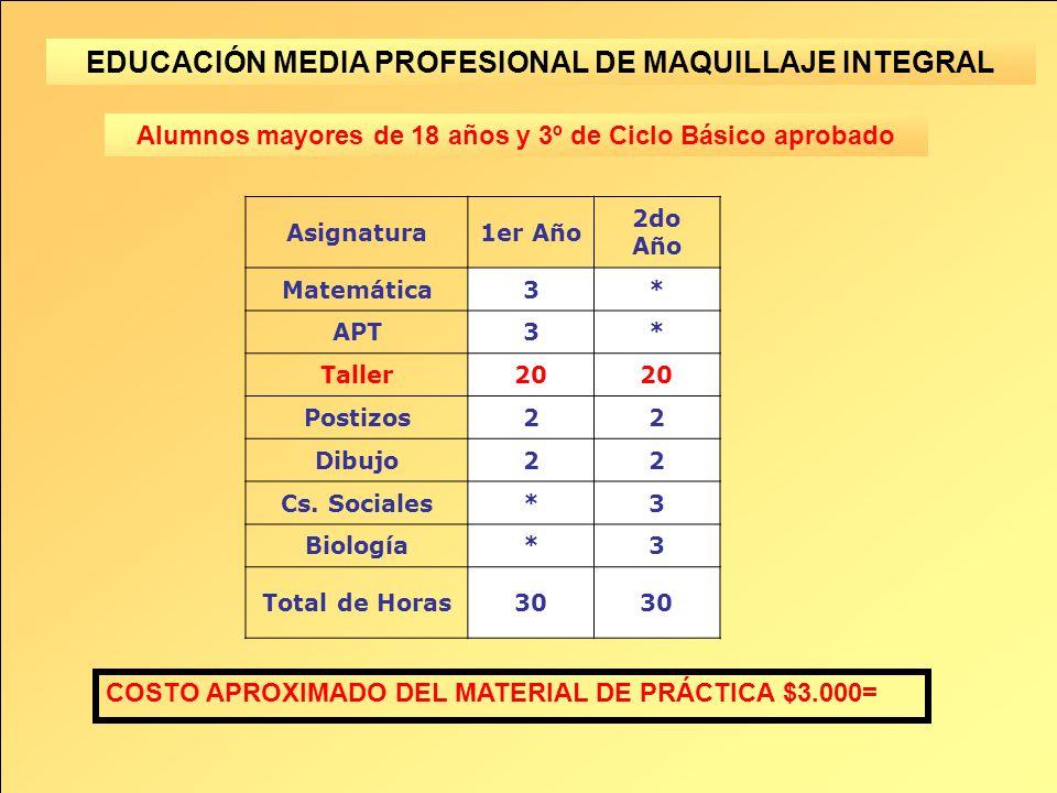 EDUCACIÓN MEDIA PROFESIONAL DE MAQUILLAJE INTEGRAL