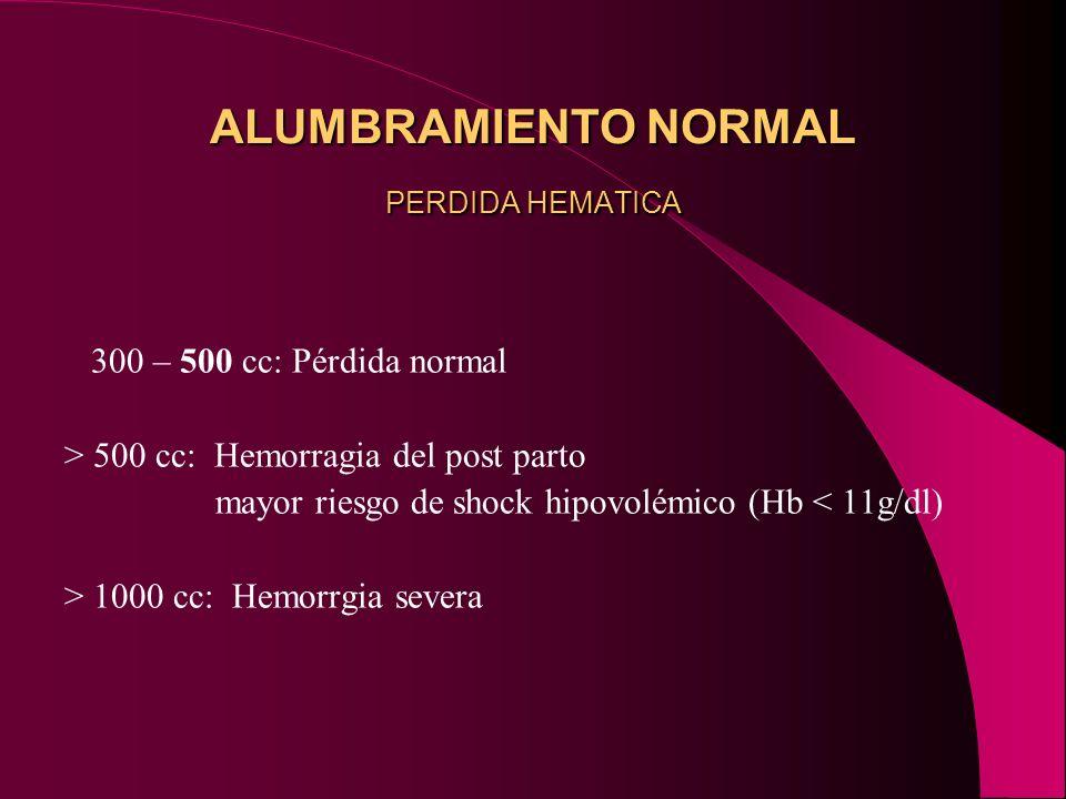 ALUMBRAMIENTO NORMAL PERDIDA HEMATICA