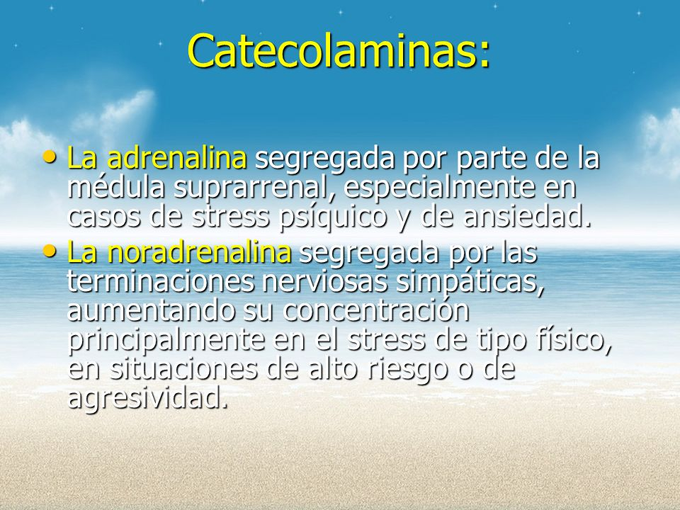 Catecolaminas: La adrenalina segregada por parte de la médula suprarrenal, especialmente en casos de stress psíquico y de ansiedad.
