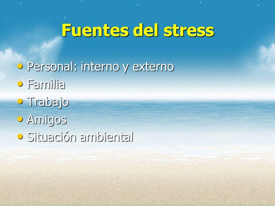 Fuentes del stress Personal: interno y externo Familia Trabajo Amigos