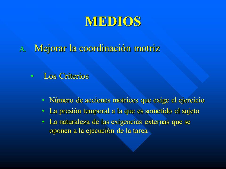 MEDIOS Mejorar la coordinación motriz Los Criterios