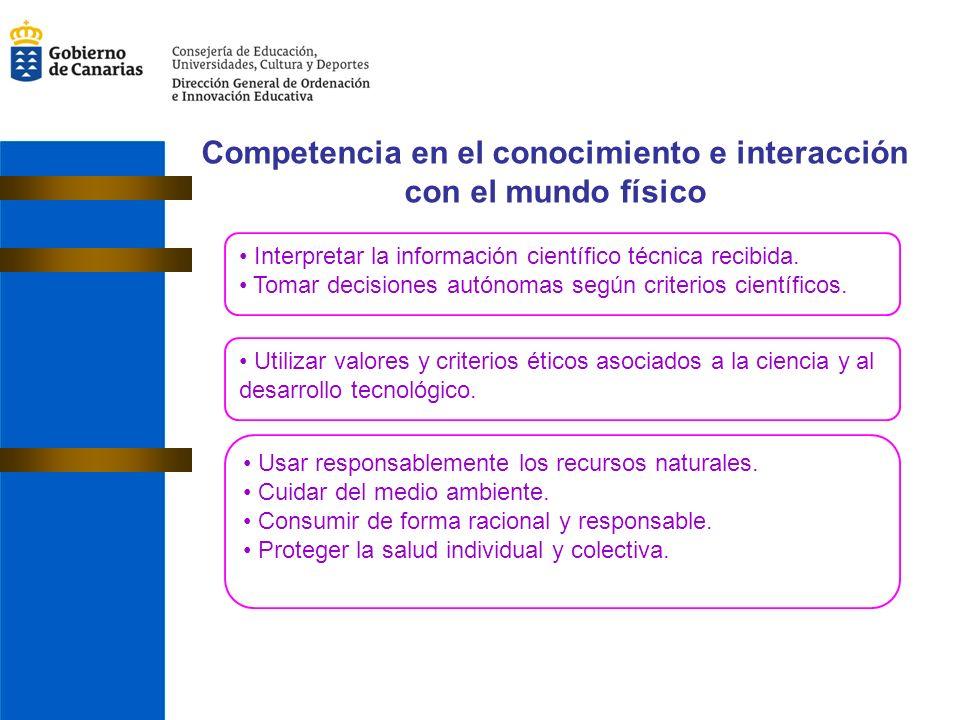 Competencia en el conocimiento e interacción con el mundo físico