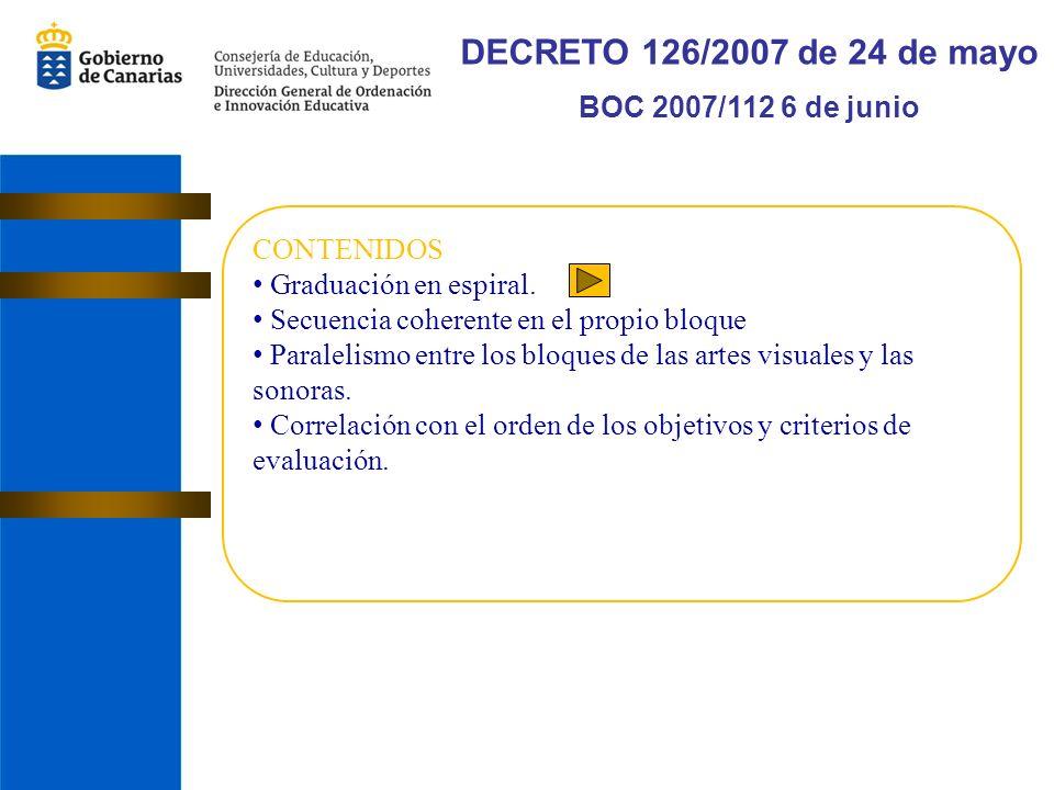 DECRETO 126/2007 de 24 de mayo BOC 2007/112 6 de junio CONTENIDOS