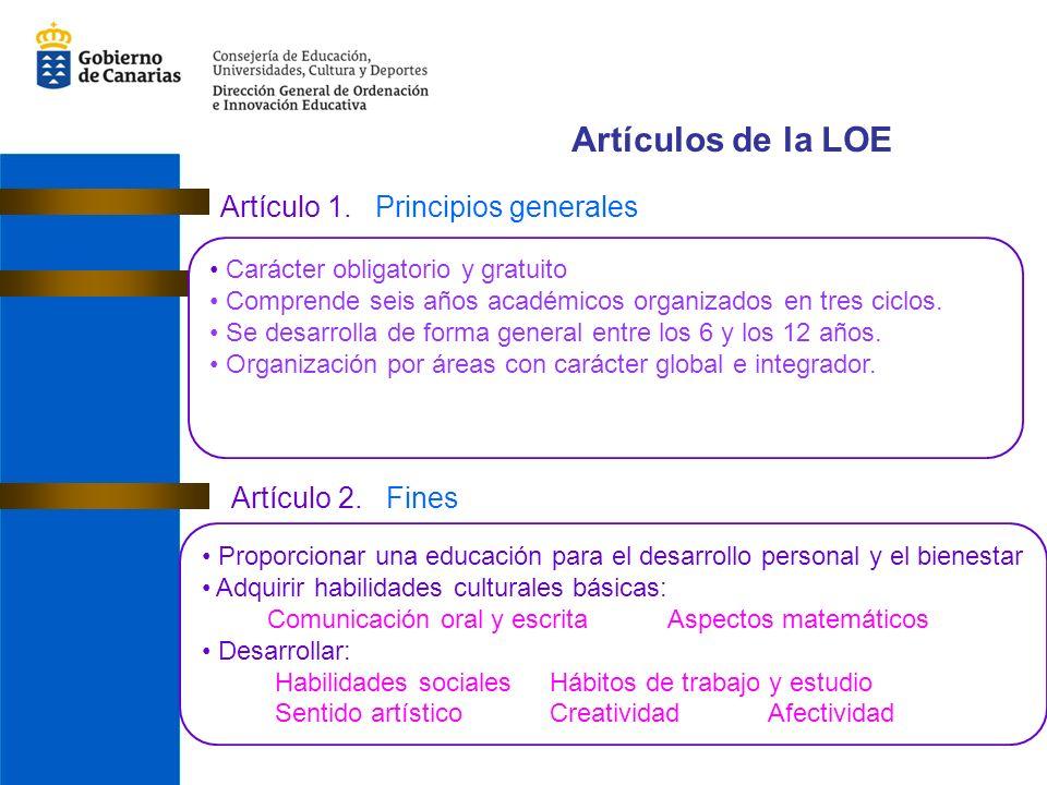 Artículos de la LOE Artículo 1. Principios generales Artículo 2. Fines