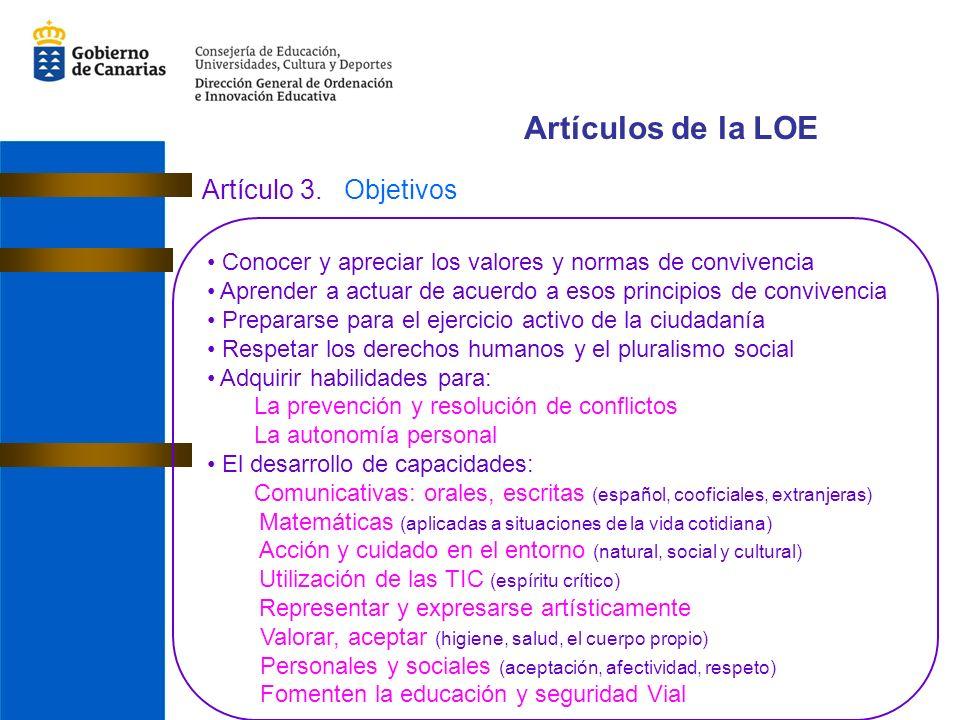 Artículos de la LOE Artículo 3. Objetivos