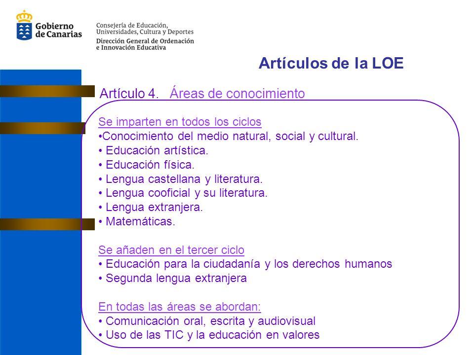 Artículos de la LOE Artículo 4. Áreas de conocimiento