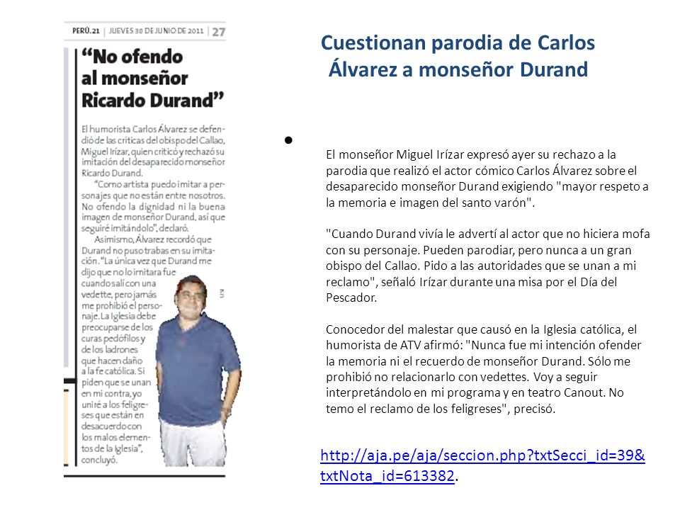 Cuestionan parodia de Carlos Álvarez a monseñor Durand