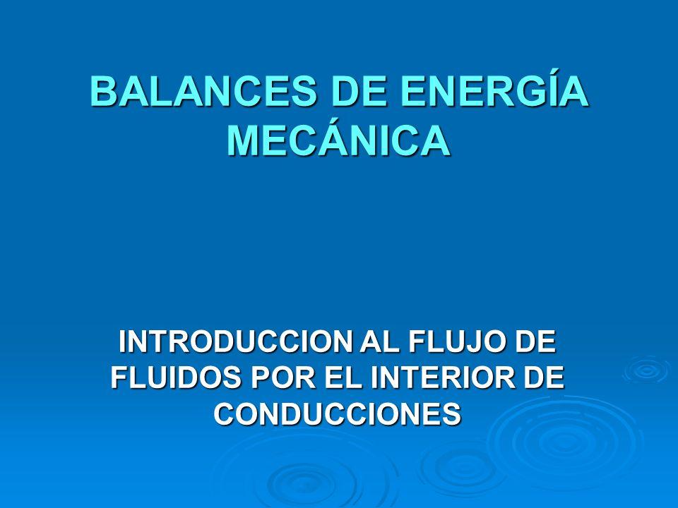 BALANCES DE ENERGÍA MECÁNICA