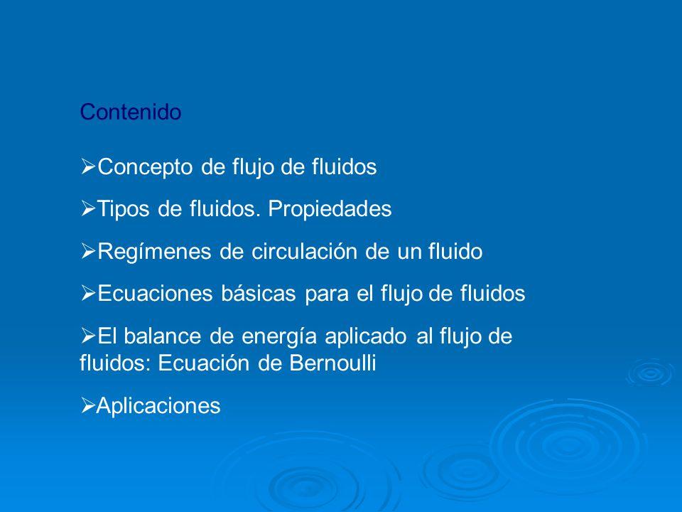 Contenido Concepto de flujo de fluidos. Tipos de fluidos. Propiedades. Regímenes de circulación de un fluido.