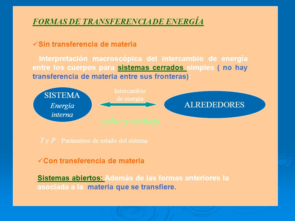 calor y trabajo FORMAS DE TRANSFERENCIA DE ENERGÍA