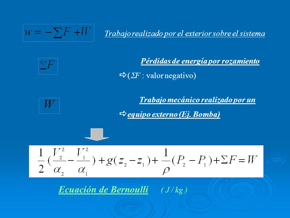 Ecuación de Bernoulli ( J / kg )