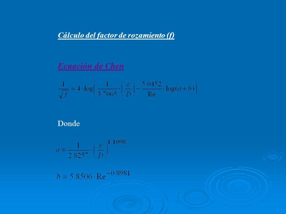 Cálculo del factor de rozamiento (f)