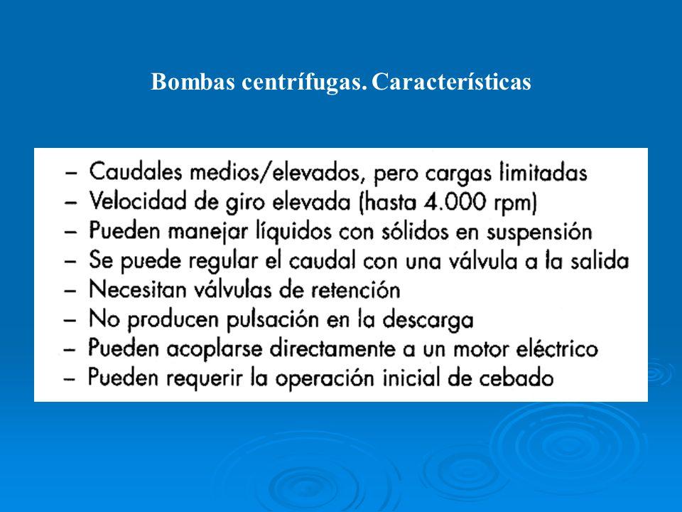 Bombas centrífugas. Características