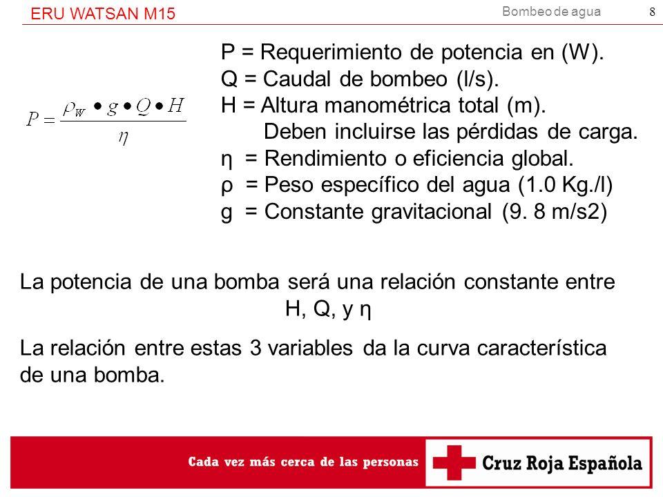 P = Requerimiento de potencia en (W).