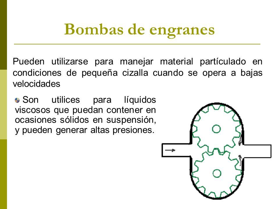Bombas de engranes Pueden utilizarse para manejar material partículado en condiciones de pequeña cizalla cuando se opera a bajas velocidades.