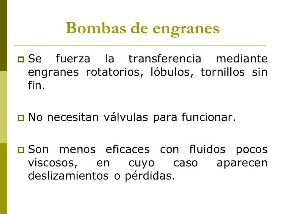 Bombas de engranes Se fuerza la transferencia mediante engranes rotatorios, lóbulos, tornillos sin fin.