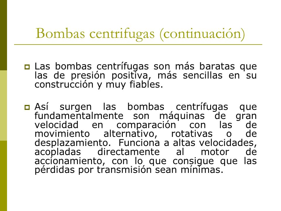 Bombas centrifugas (continuación)