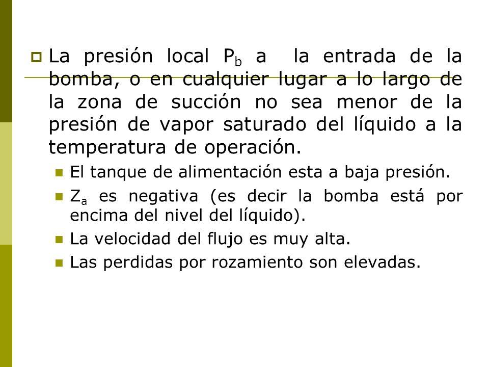 La presión local Pb a la entrada de la bomba, o en cualquier lugar a lo largo de la zona de succión no sea menor de la presión de vapor saturado del líquido a la temperatura de operación.