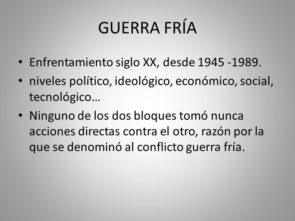 GUERRA FRÍA Enfrentamiento siglo XX, desde 1945 -1989.