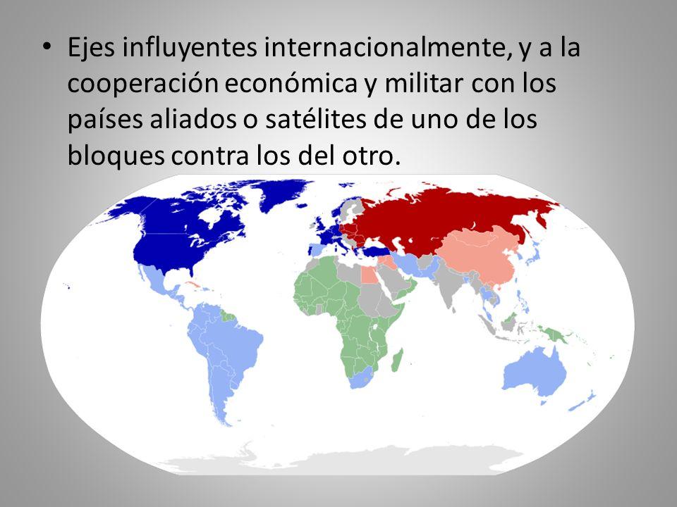 Ejes influyentes internacionalmente, y a la cooperación económica y militar con los países aliados o satélites de uno de los bloques contra los del otro.
