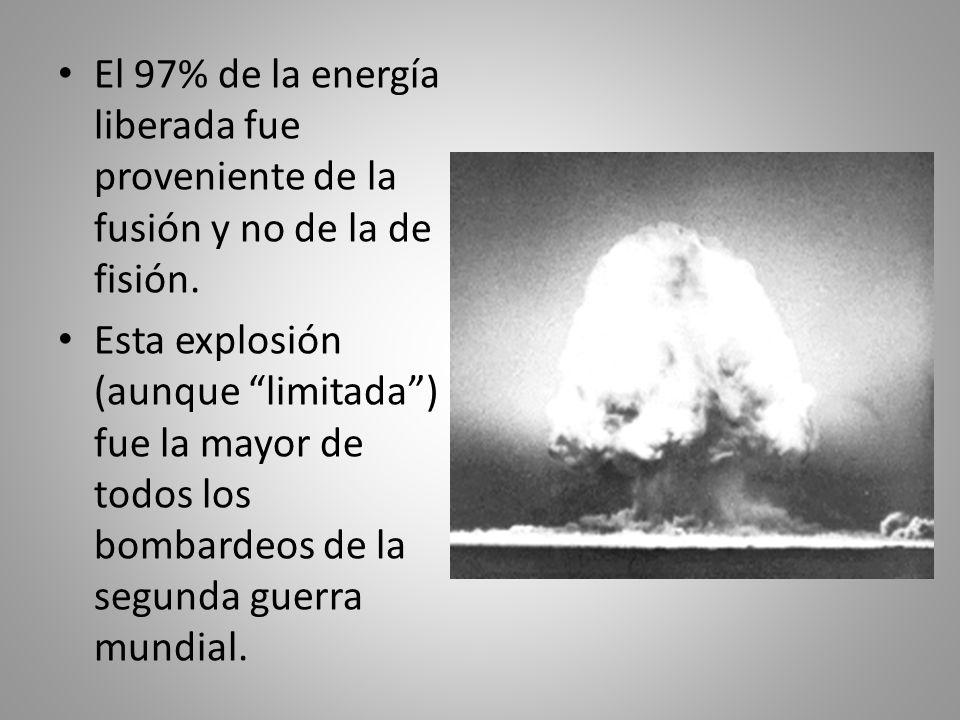 El 97% de la energía liberada fue proveniente de la fusión y no de la de fisión.