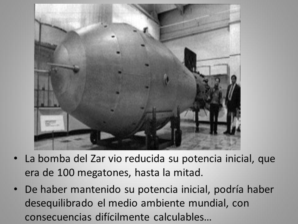 La bomba del Zar vio reducida su potencia inicial, que era de 100 megatones, hasta la mitad.