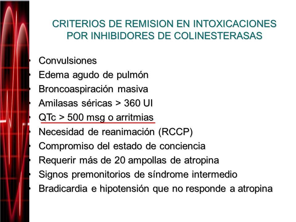 CRITERIOS DE REMISION EN INTOXICACIONES POR INHIBIDORES DE COLINESTERASAS