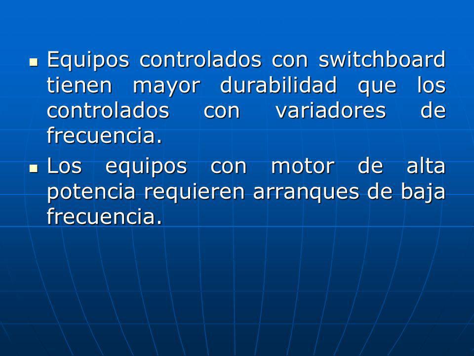 Equipos controlados con switchboard tienen mayor durabilidad que los controlados con variadores de frecuencia.