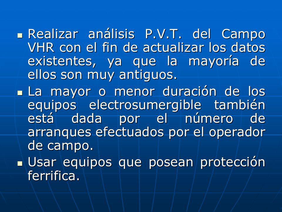 Realizar análisis P.V.T. del Campo VHR con el fin de actualizar los datos existentes, ya que la mayoría de ellos son muy antiguos.
