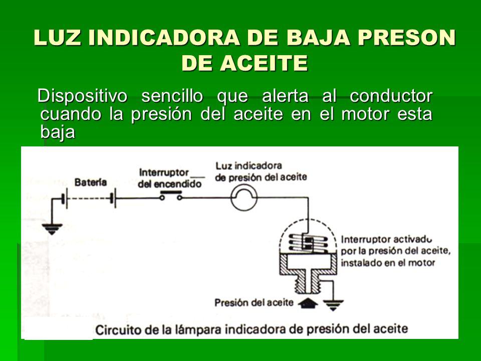 LUZ INDICADORA DE BAJA PRESON DE ACEITE