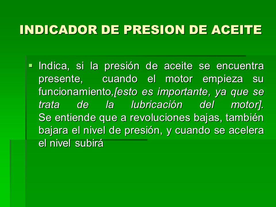 INDICADOR DE PRESION DE ACEITE